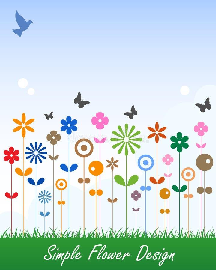 Simple Flower Card Message Label vector illustration