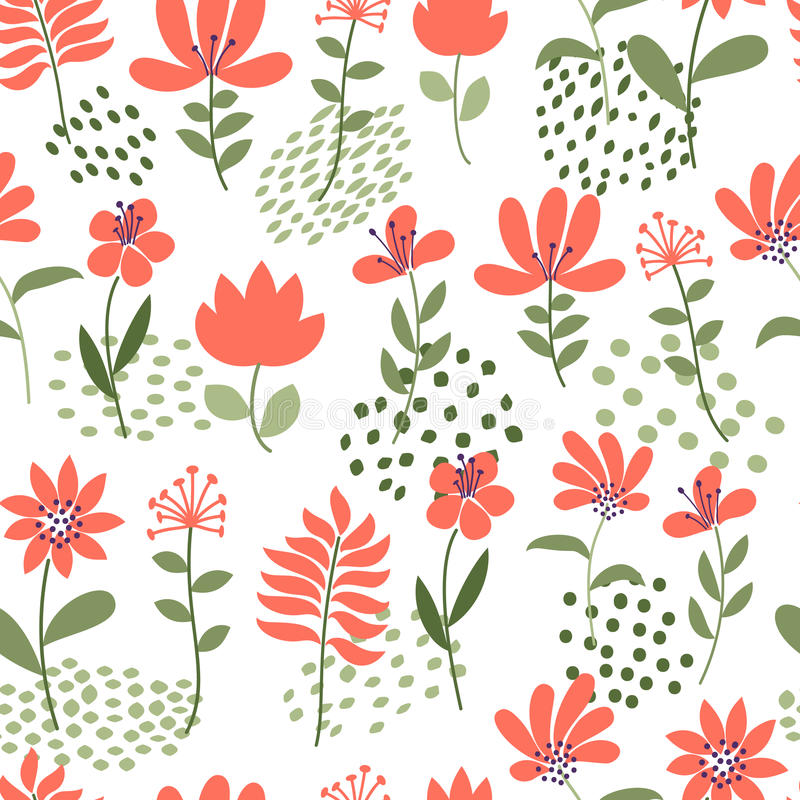 Simple flower pattern. Seamless cute floral and dots background. Vector illustration. Template for fashion prints. stock illustration