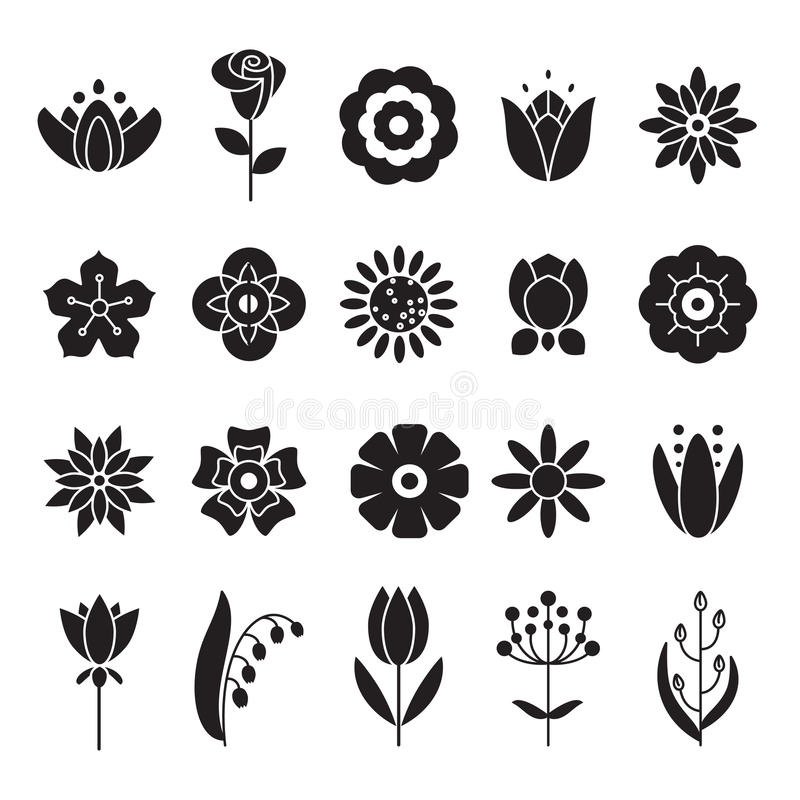 Simple flowers icons set. Universal icon to use for web vector illustration