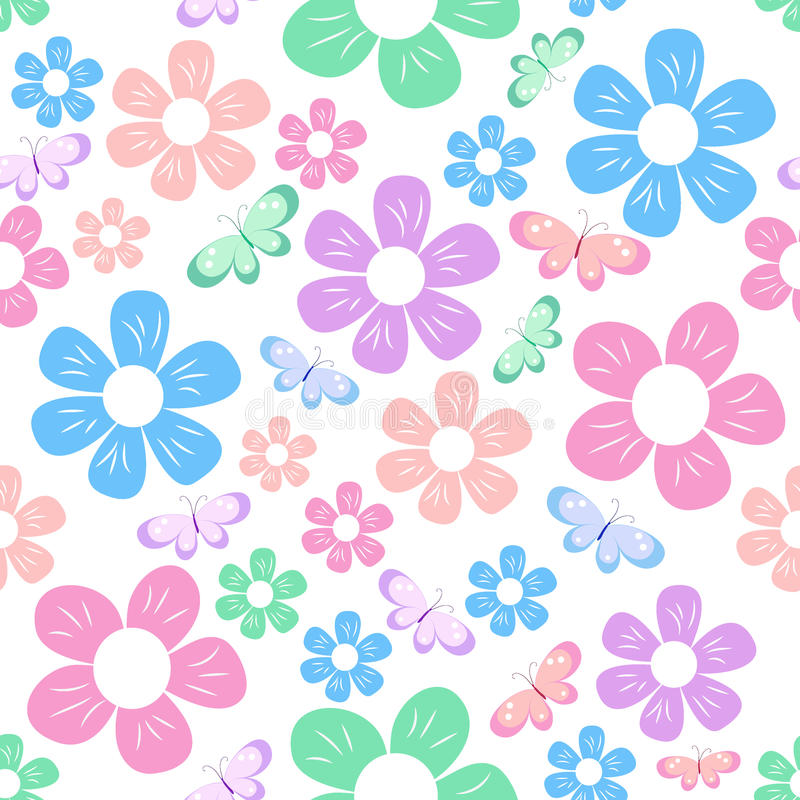 Simple flowers pattern stock illustration