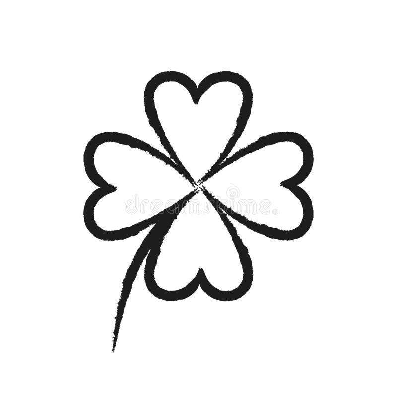 Simple four-leaf clover drawing on white background. Vector illustration EPS10 vector illustration