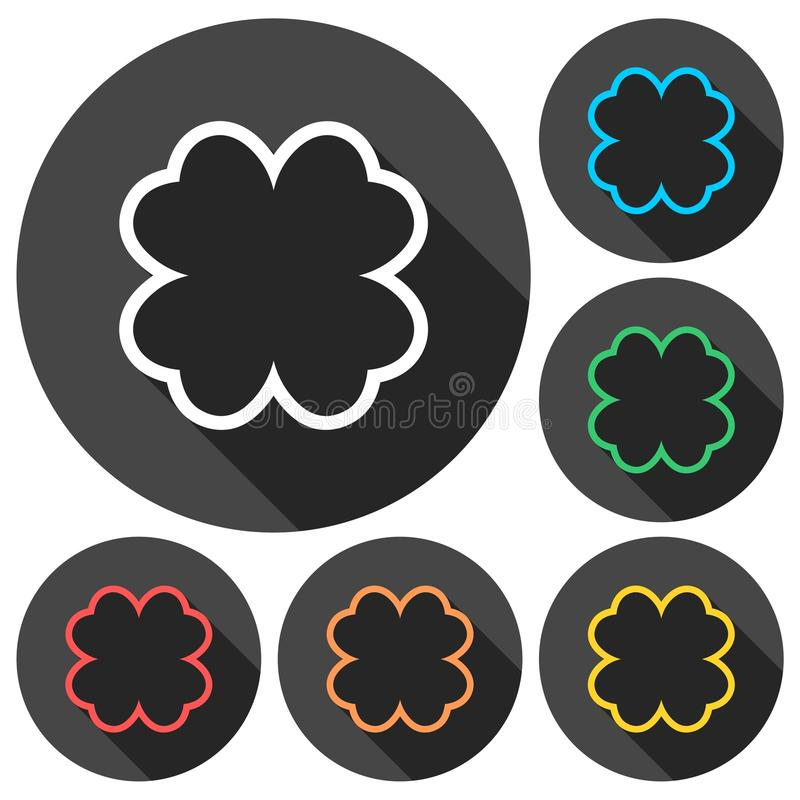 Simple Four Leaf Clover Icons Set With Long Shadow Stock ...
