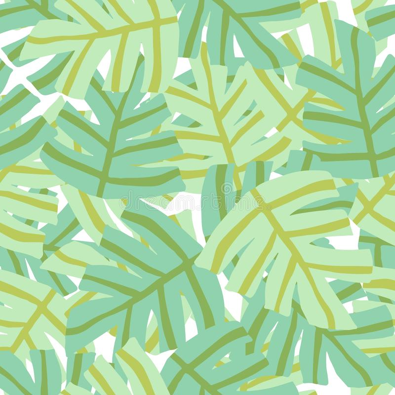 Simple freehand tropical green leaves seamless pattern royalty free illustration