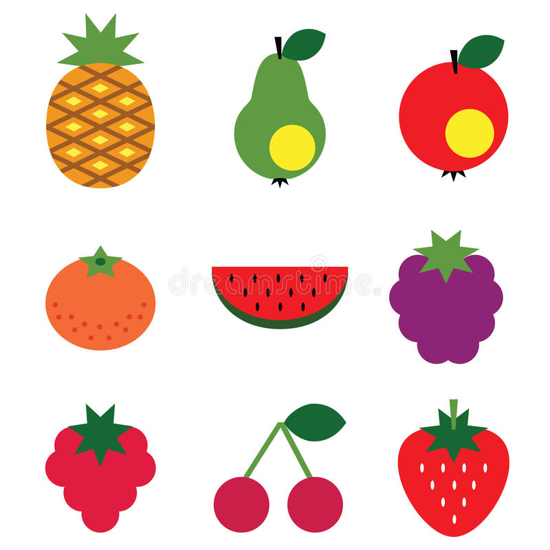 Download Simple fruits set stock vector. Image of isolated, playful - 27610398