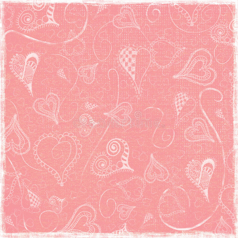 Simple Funky Arty Hearts Doodles Pink Worn Folded Paper Background royalty free illustration