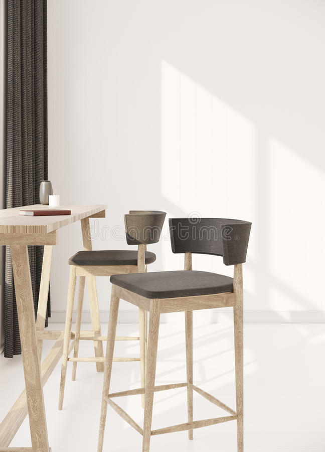Simple furniture in white room 3d rendering royalty free stock photos