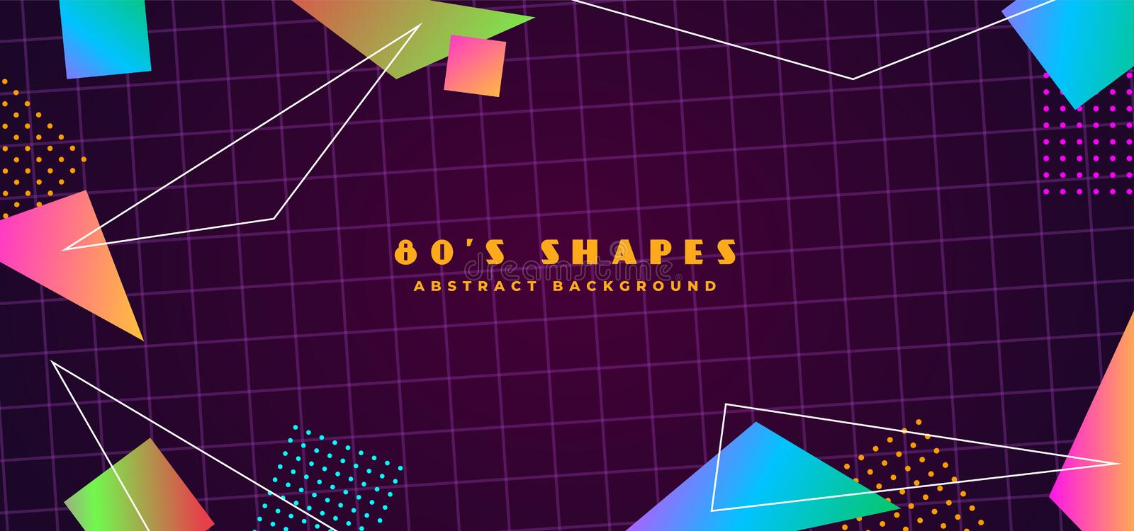 Simple futuristic retro 1980s style abstract cover banner design. 80s colorful gradient effect geometry polygon shape with line stock illustration
