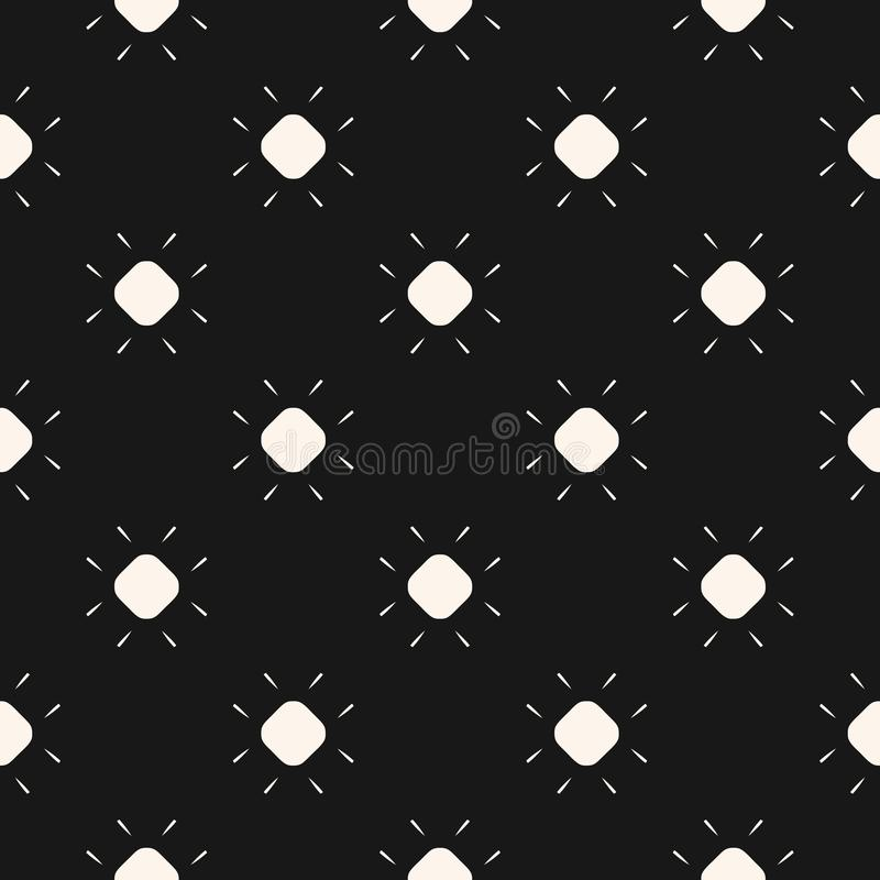 Simple geometric black and white vector seamless pattern with small flowers stock illustration