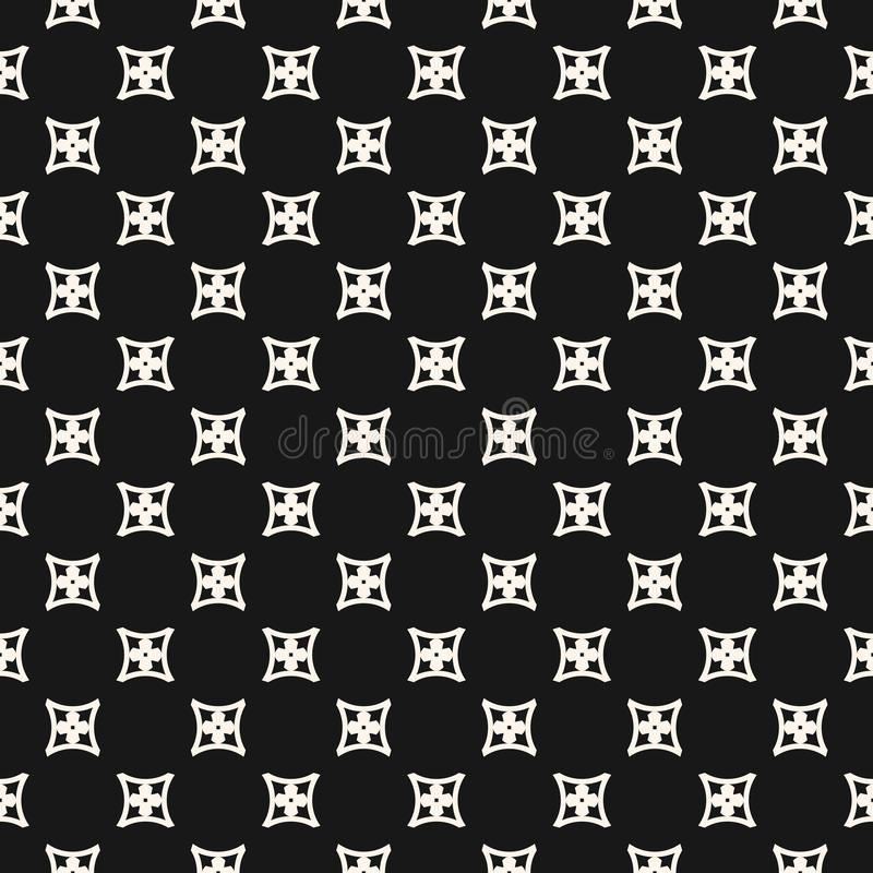 Simple geometric floral seamless pattern. Black and white ornament. vector illustration