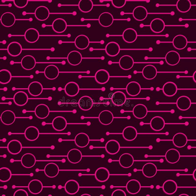 Simple geometric glowing rounds and lines on dark background. Neon lights on abstract vector seamless patterns for textile, prints. Wallpaper etc vector illustration