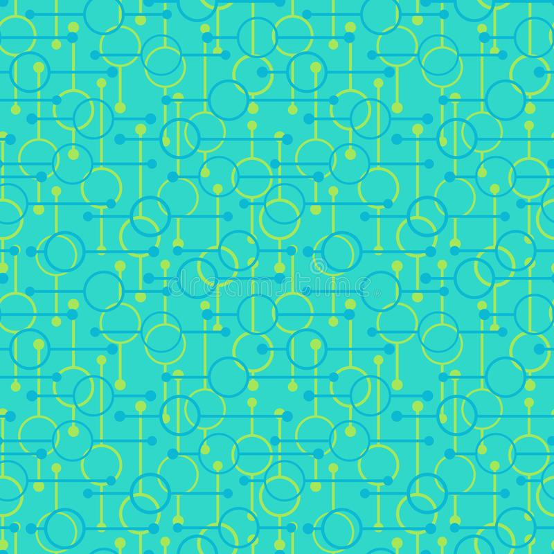 Simple geometric glowing rounds and lines on light blue background. Pale lights on abstract vector seamless patterns for textile, vector illustration