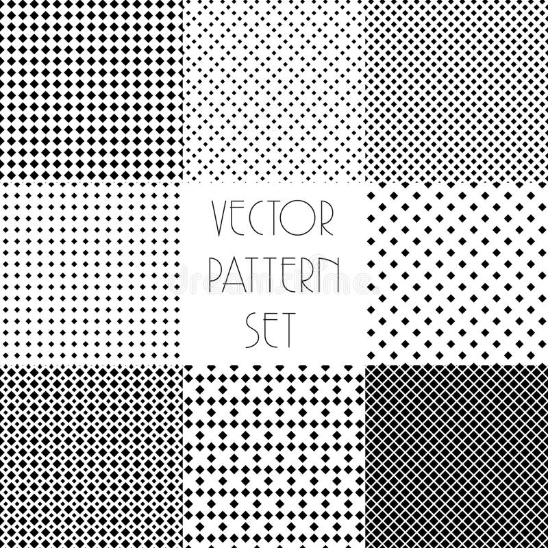 Download Simple Geometric Patterns. Seamless Repeating Vector Collection.  Black And White Texture Set With