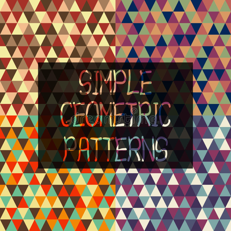 Simple geometric patterns of triangles in retro style set royalty free illustration