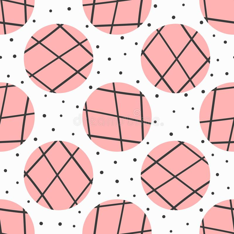 Simple geometric seamless pattern. Polka dot and circles with lines drawn by hand. vector illustration