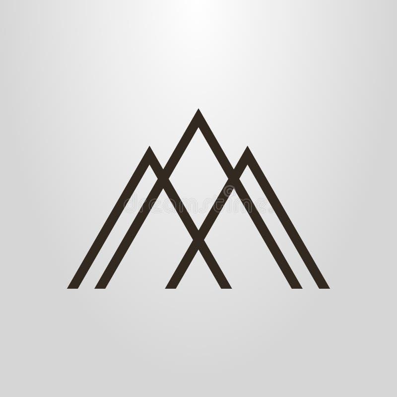 Simple geometric vector line art pictogram of three mountain peaks stock image
