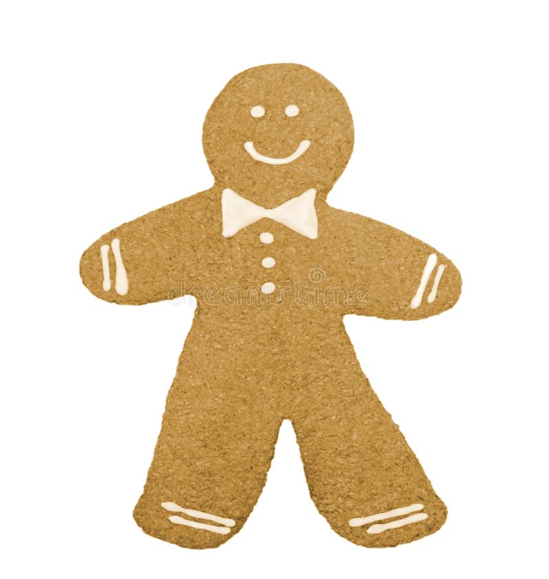 Simple gingerbread man. On the white background royalty free stock images