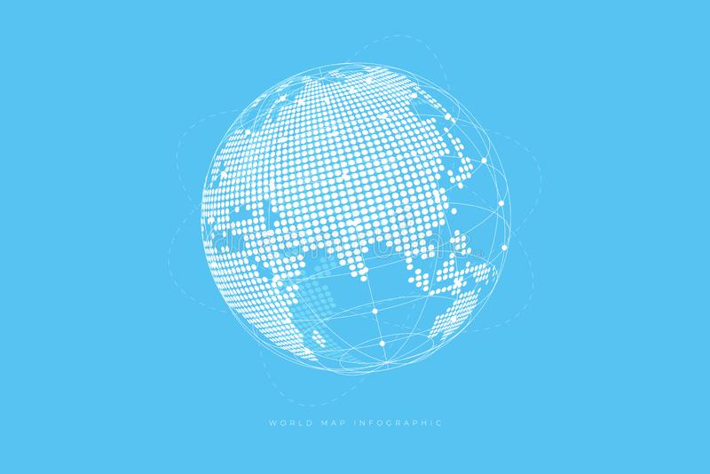 Simple Globe shape, World map created from dots on blue background. Global connection concept. stock illustration