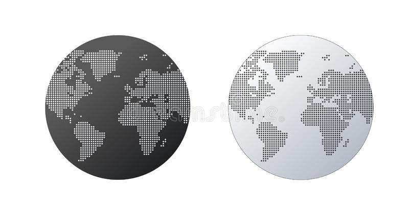 Simple Globe shape, World map created from dots on white background. Global connection concept. Simple Globe shape, World map created from dots on white . Global vector illustration