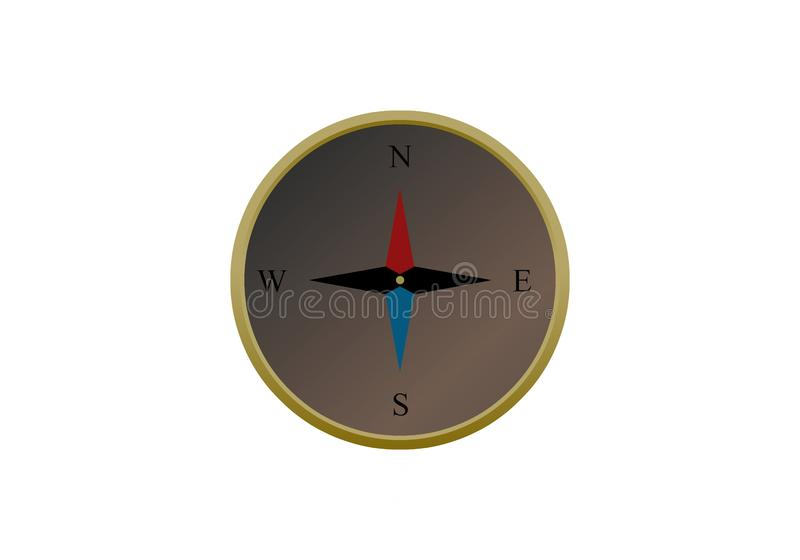 Simple glossy compass isolated on white background vector illustration