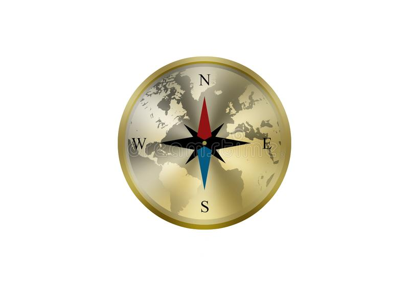Simple glossy compass isolated on white background royalty free stock images
