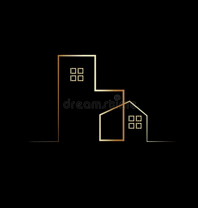 Simple gold house and building logo symbol royalty free illustration