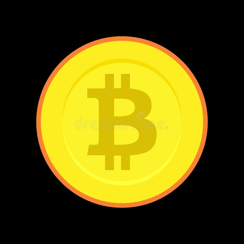 Simple, golden, flat bitcoin coin royalty free illustration