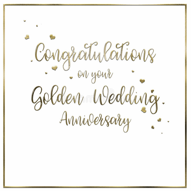 Simple, Golden Wedding Anniversary Card. A simple, uncomplicated white Golden Wedding Anniversary card or poster. The words `Congratulations on your Golden vector illustration