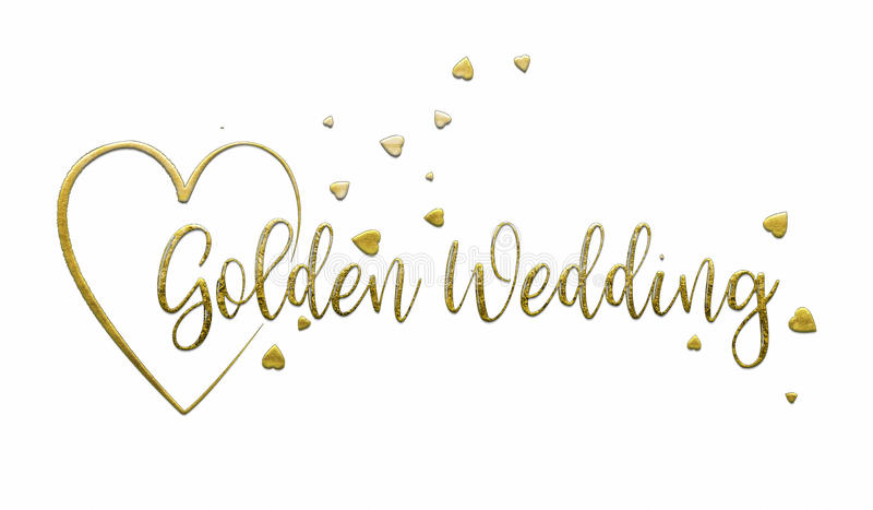 Simple, Golden Wedding Card. A simple, uncomplicated white Golden Wedding card or poster. The words `Golden Wedding` extend out from the centre of a gold heart royalty free illustration
