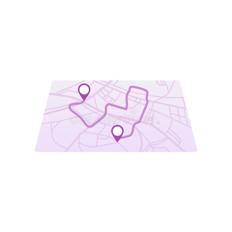 Simple GPS icon and route on city map with path and two pins isolated on white background. Simple GPS icon and route on city map with pink path and two pins stock illustration
