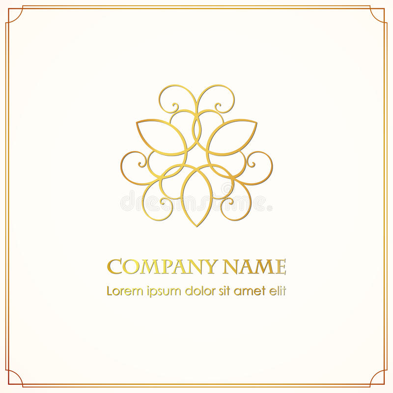 Simple and graceful floral logotype design template with shine on a dark background. Vector golden elegant lineart logo design, vector illustration royalty free illustration