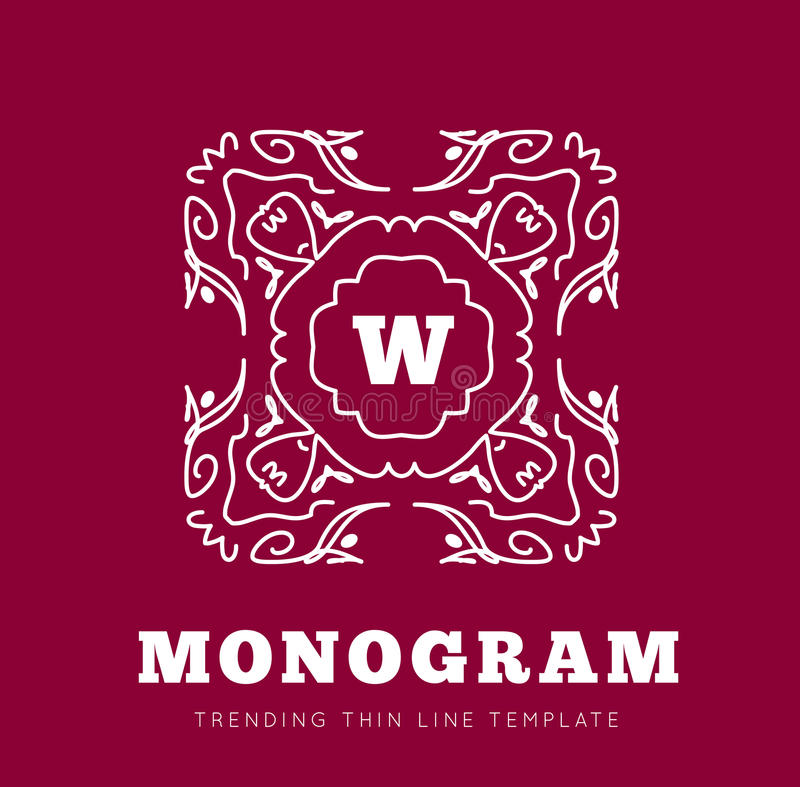 Simple and graceful monogram design template royalty free illustration