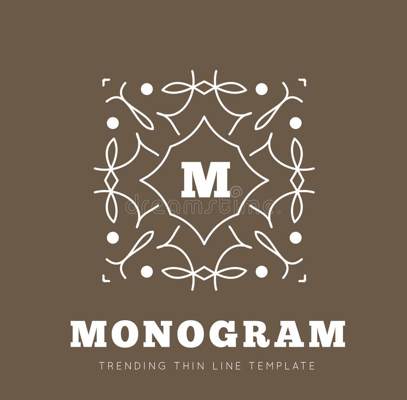 Simple and graceful monogram design template stock illustration