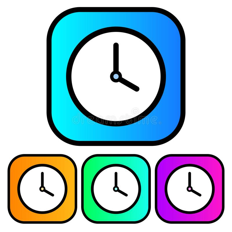 Simple, gradient square clock icon. Four color variations royalty free illustration