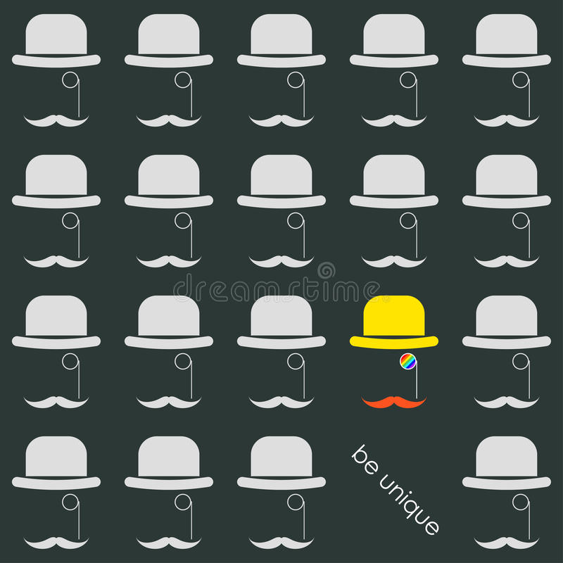 Simple graphical conceptual illustration on the theme of the uniqueness of each person with cartoon hats stock illustration