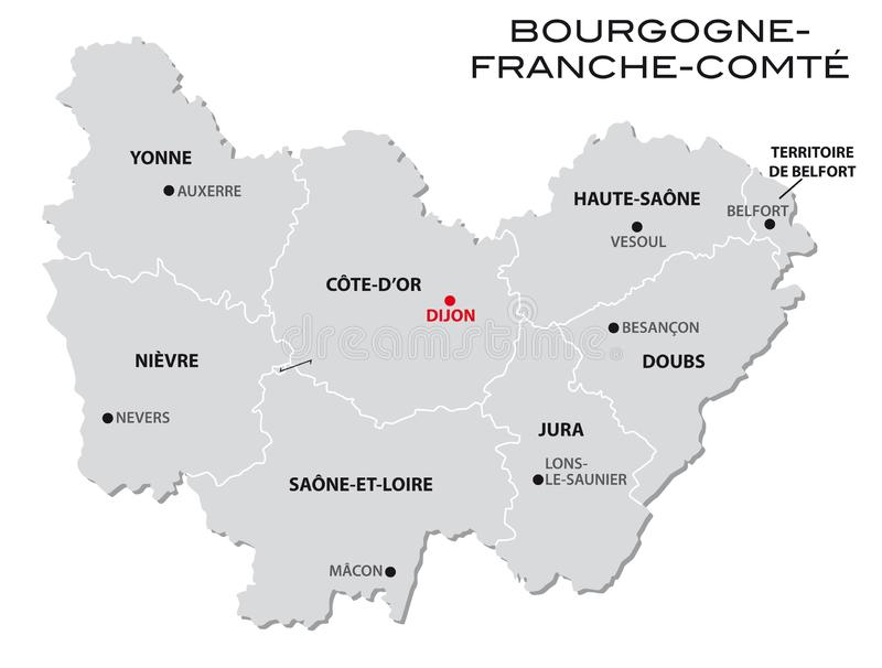 Simple Gray Administrative Map Of The New French Region Bourgogne Franche Comte Stock Vector Illustration Of Metropolitan Bourgognefranchecomte 136586150