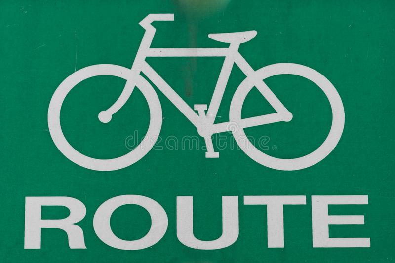 A Simple Green Bike Route Sign.  stock photo