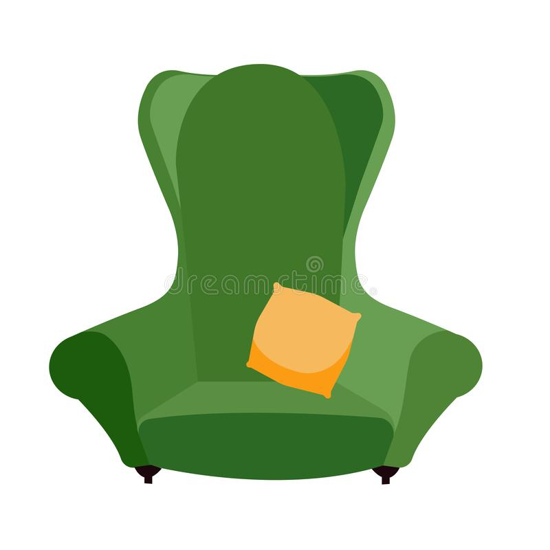 Simple green comfortable armchair with yellow pillow. arty-crafty vintage sofa icon. Isolated flat cartoon vector stock illustration