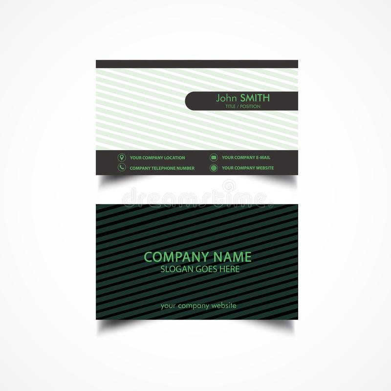 Simple Green and Dark Color Business Card stock illustration