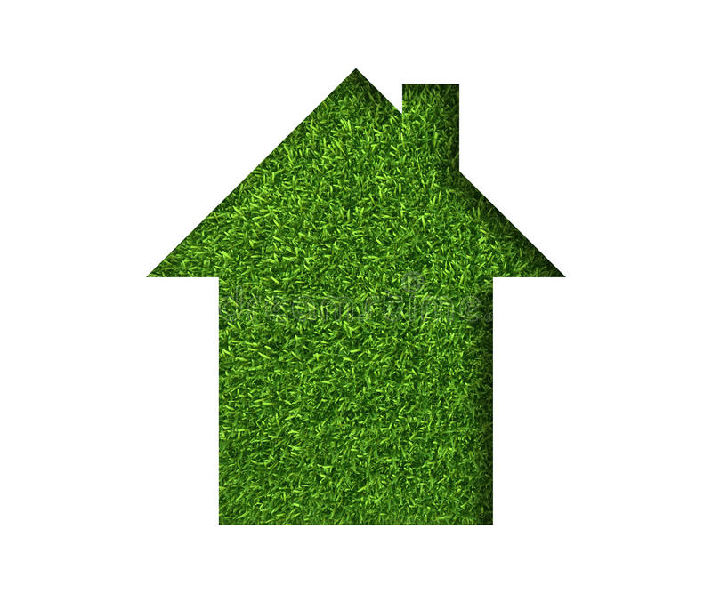 Simple green grass eco house icon. concept ecology royalty free illustration