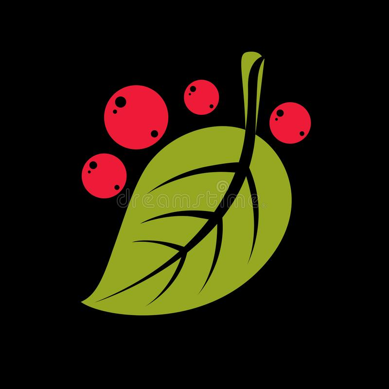 Free Simple Green Vector Leaf With Red Seeds Of Deciduous Tree, Stylized Nature Element. Ecology Symbol, Can Be Used In Graphic Design Royalty Free Stock Image - 142455496