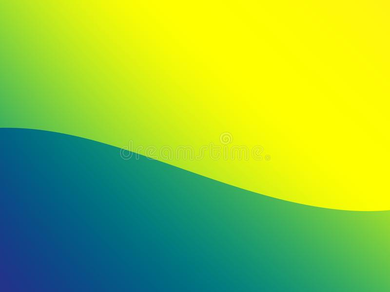 Simple green and yellow wave abstract fractal background with text and image space. stock illustration