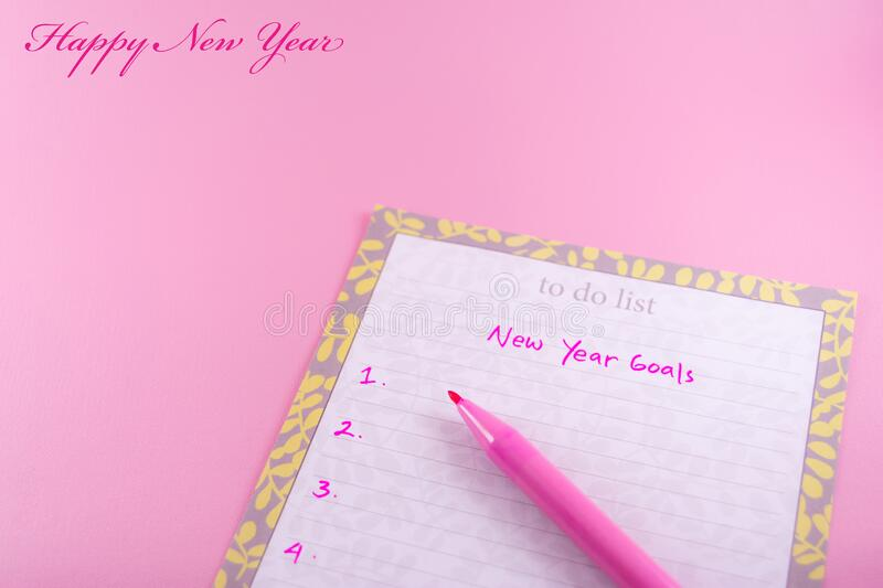 Simple Greeting card happy new year template, woman or female theme on pink background stock photos