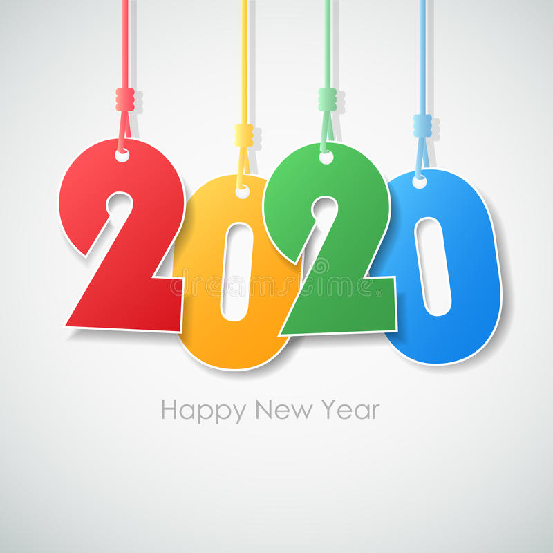 Simple greeting card happy new year 2020. stock illustration