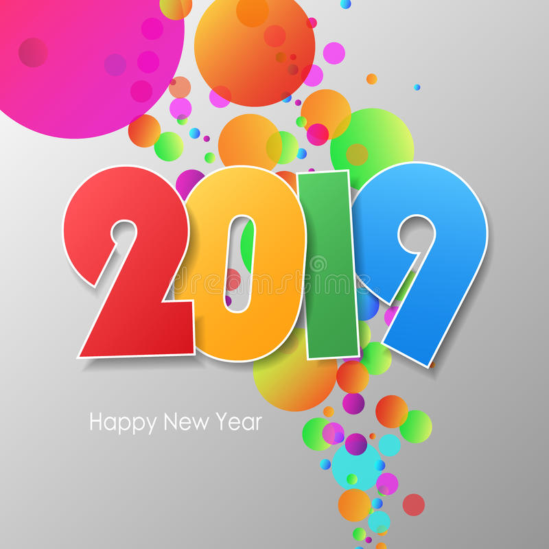 Simple greeting card happy new year 2019. stock illustration
