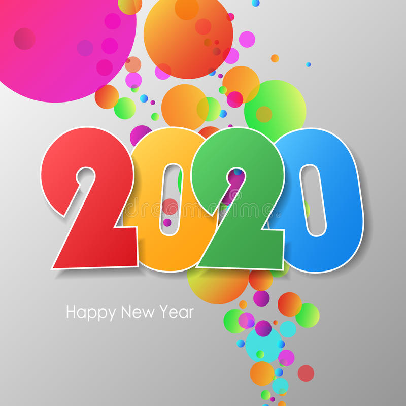 Simple greeting card happy new year 2020. stock photography