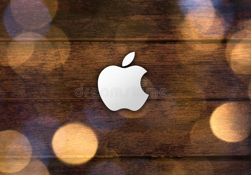 Simple Apple brand logo abstract wallpaper background stock photo