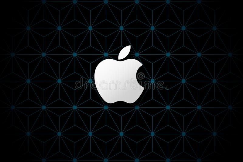 Simple Apple brand logo abstract wallpaper background stock image