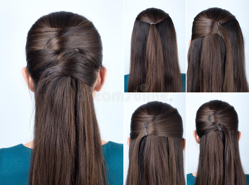 Simple Hairstyle Tutorial Stock Image. Image Of Beautiful