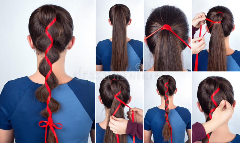 Simple hairstyle tutorial. Hairstyle for long hair. Simple braid hairstyle with red tape for celebration new year. Hairstyle. Tutorial. Hair model. Holiday party royalty free stock photos
