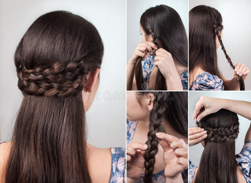Simple hairstyle tutorial stock photo. Image of natural - 68666090